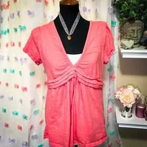 AE V-Neck Empire Waist Short Sleeve Pink Shirt